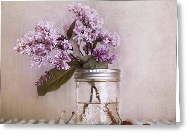 Tabletop Greeting Cards - Lilac And Cherries Greeting Card by Priska Wettstein