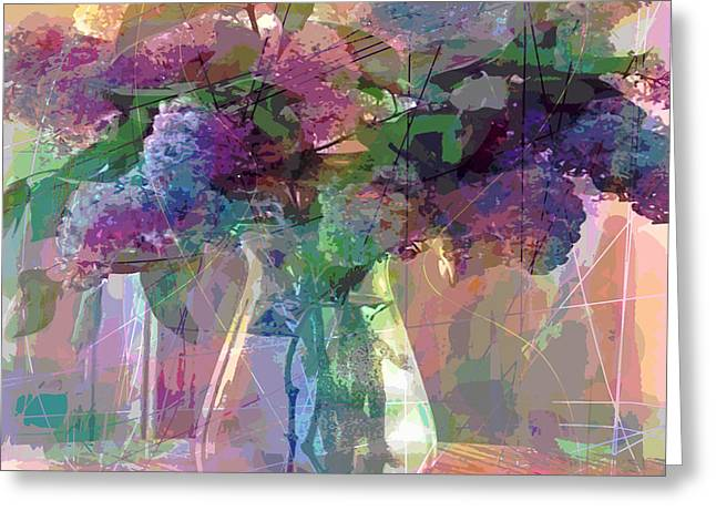 Glass Vase Paintings Greeting Cards - Lilac Cuttings Glass Vase Greeting Card by David Lloyd Glover
