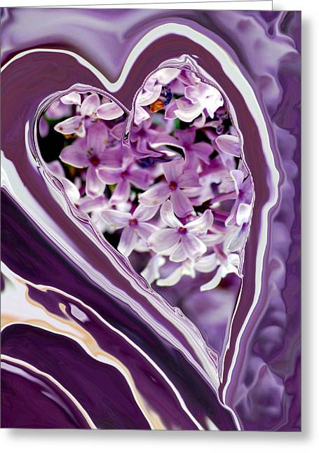 Floral Digital Art Greeting Cards - Lilac Heart Abstract for Haiti Greeting Card by Michelle  BarlondSmith