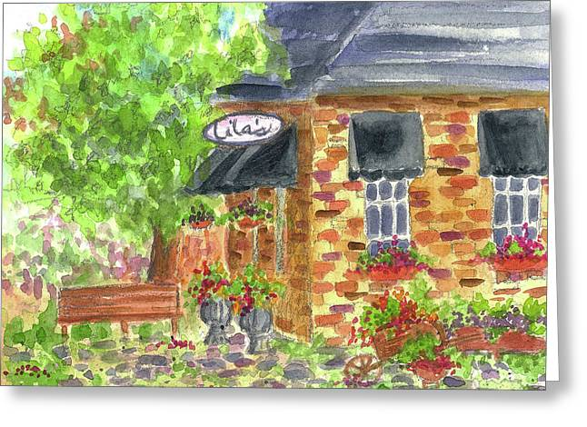 Deli Drawings Greeting Cards - Lilas Cafe Greeting Card by Cathie Richardson