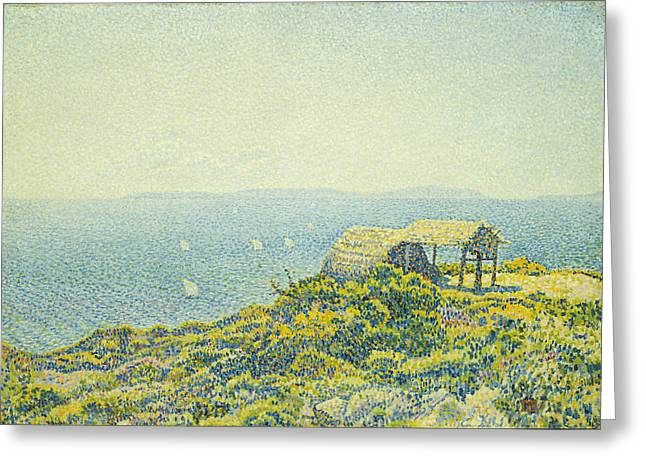Shack Greeting Cards - LIle du Levant vu du Cap Benat Greeting Card by Theo van Rysselberghe