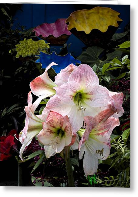 Stephen Mack Greeting Cards - Lilies and Glass Greeting Card by Stephen Mack