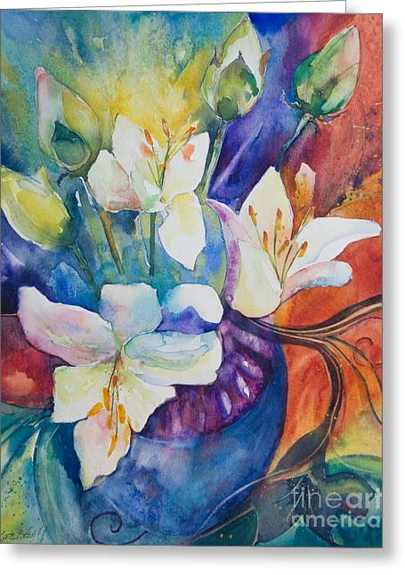 Lotus Bud Greeting Cards - Lilies and Lotus Buds Greeting Card by Kate Bedell