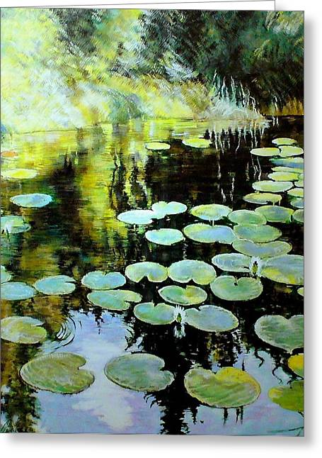 Lilly Pads Mixed Media Greeting Cards - Lilies Greeting Card by George Ganciu