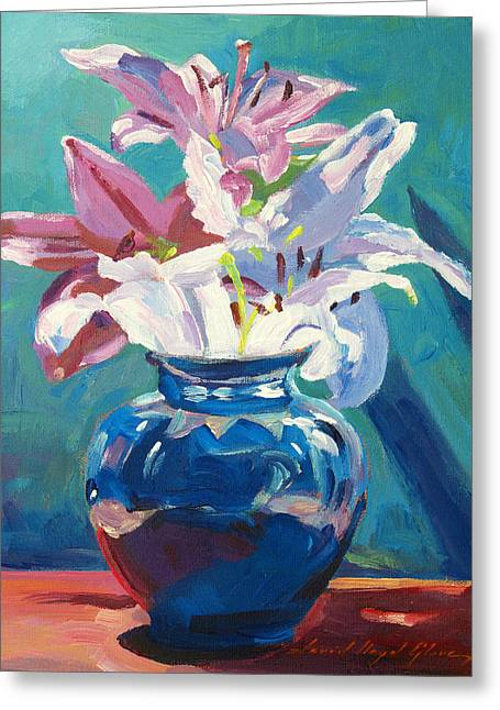 Floral Still Life Greeting Cards - Lilies in Blue Greeting Card by David Lloyd Glover