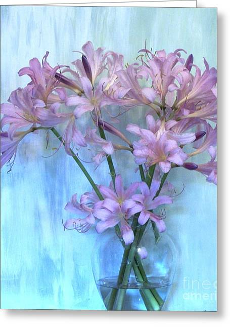 Lilies Pink Greeting Card by Marsha Heiken