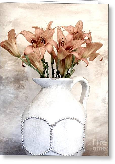 Pottery Pitcher Digital Greeting Cards - Lilies Pitcher Greeting Card by Marsha Heiken