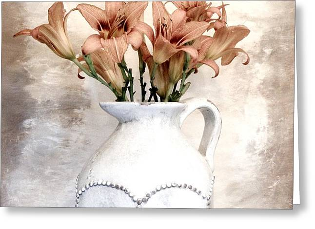 Lilies Pitcher Greeting Card by Marsha Heiken