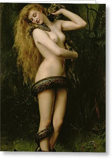Woman Nude Greeting Cards - Lilith Greeting Card by John Collier
