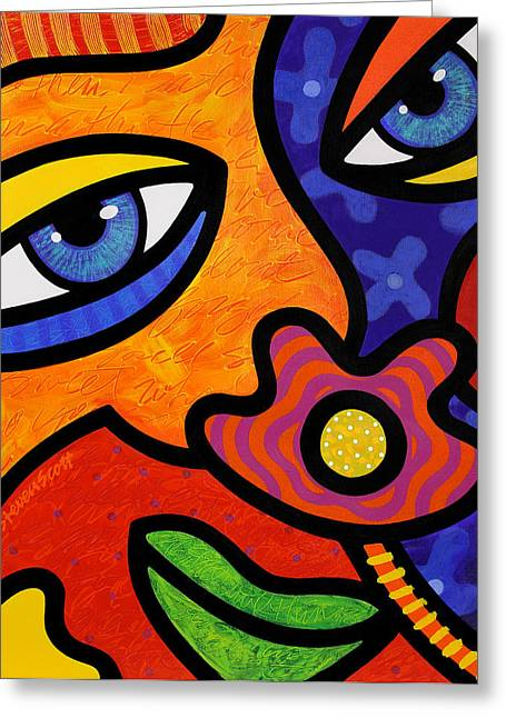 Abstract Face Greeting Cards - Lilli Lilligrin Greeting Card by Steven Scott