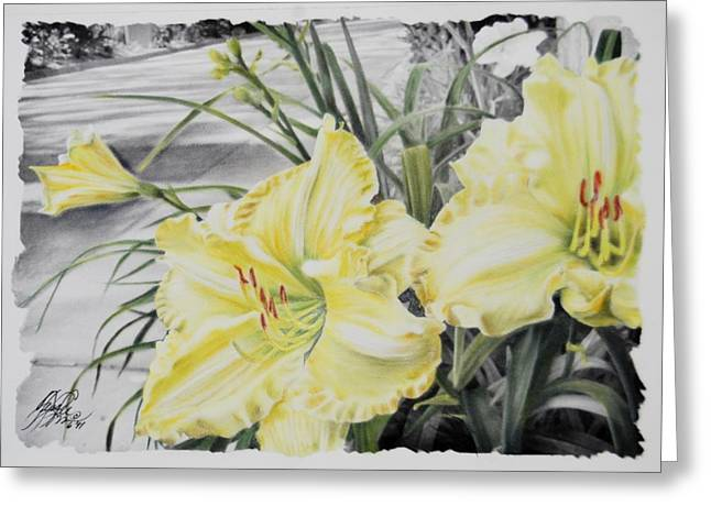Stamen Pastels Greeting Cards - Lillies Greeting Card by Tess Lee miller