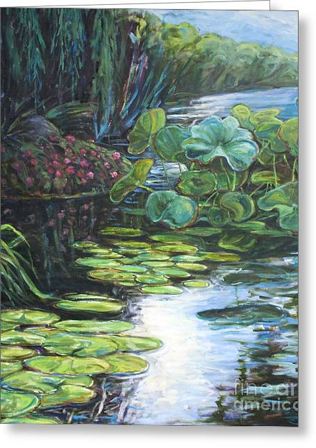 Lilly Pads Paintings Greeting Cards - Lilly Pads Greeting Card by Gary Symington