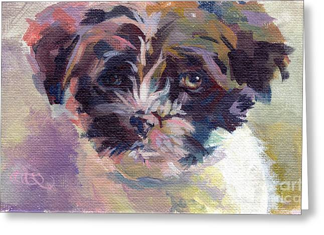 Puppies Paintings Greeting Cards - Lilly Pup Greeting Card by Kimberly Santini