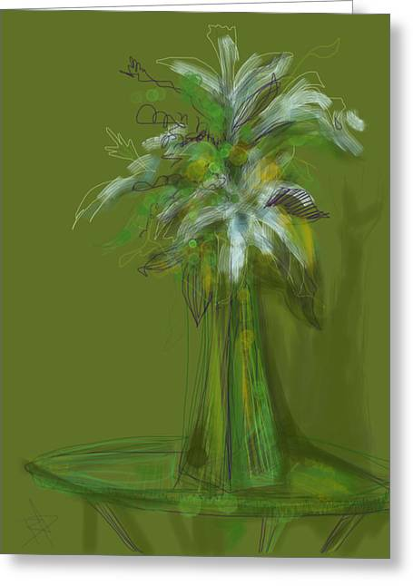 Glass Table Reflection Mixed Media Greeting Cards - Lily Bouquet Greeting Card by Russell Pierce