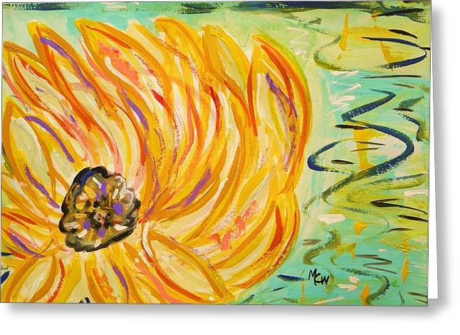 Nature Center Drawings Greeting Cards - Lily Float Greeting Card by Mary Carol Williams