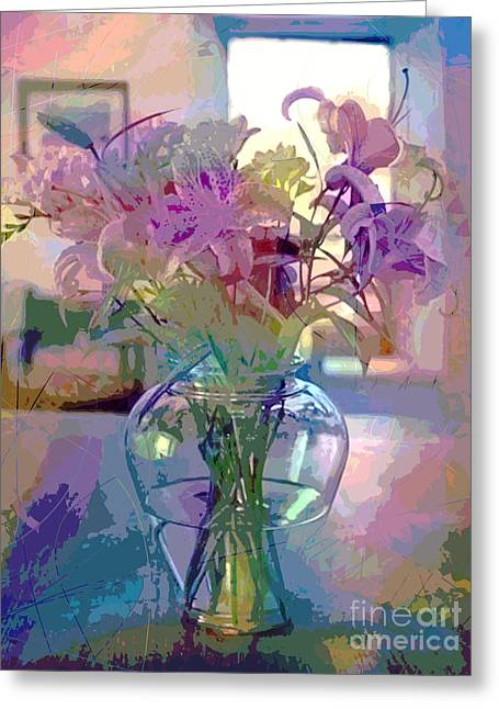 Glass Vase Paintings Greeting Cards - Lily flowers in Glass Greeting Card by David Lloyd Glover