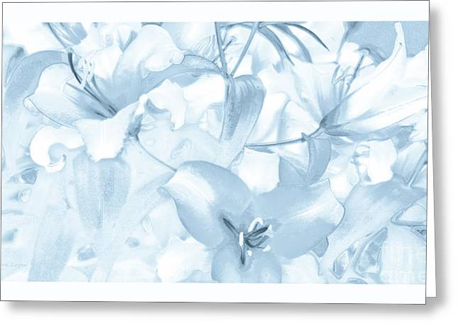 Print On Canvas Greeting Cards - Lily Garden Blue Greeting Card by Jayne Logan Intveld