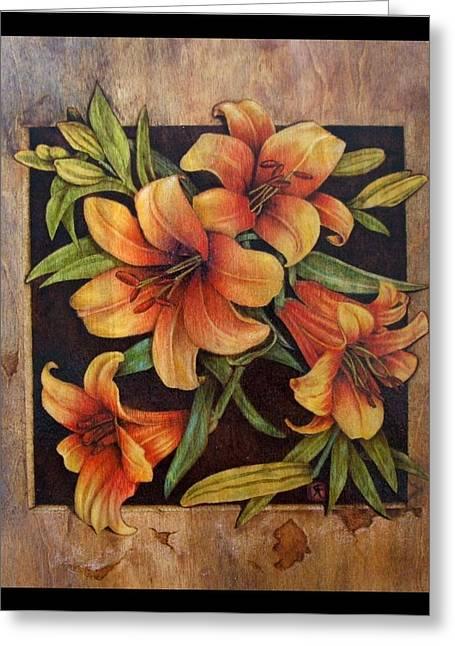 Woodburn Pyrography Greeting Cards - Lily Happy Greeting Card by Cynthia Adams