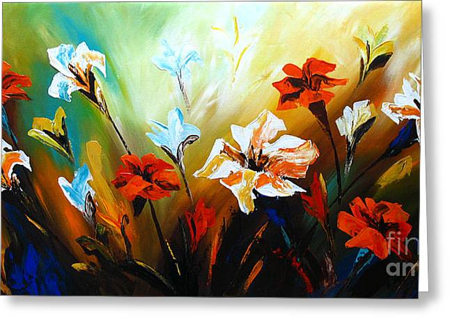 Lilies Framed Prints Greeting Cards - Lily in Bloom Greeting Card by Uma Devi