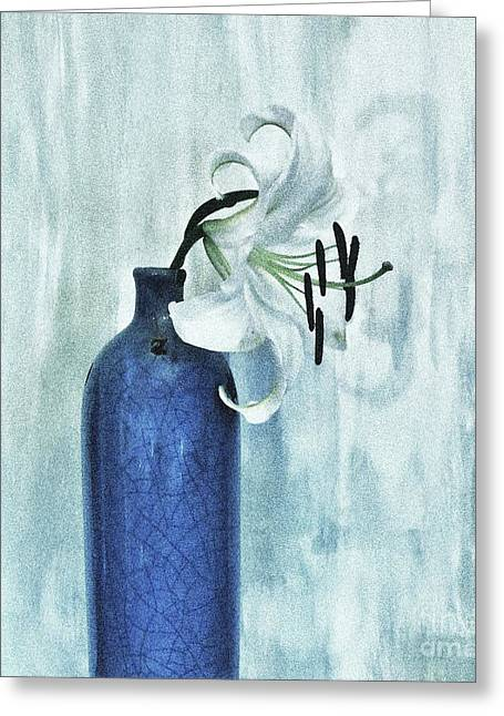 Lily In Blue Greeting Card by Marsha Heiken