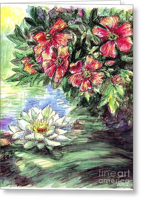 Calla Lily Drawings Greeting Cards - Lily-Lotus Flower Paintings Greeting Card by Gordon Punt