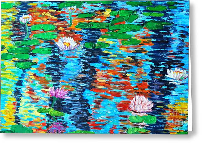 Autumn Leaf On Water Paintings Greeting Cards - Lily Pond Fall Reflections Greeting Card by Ana Maria Edulescu
