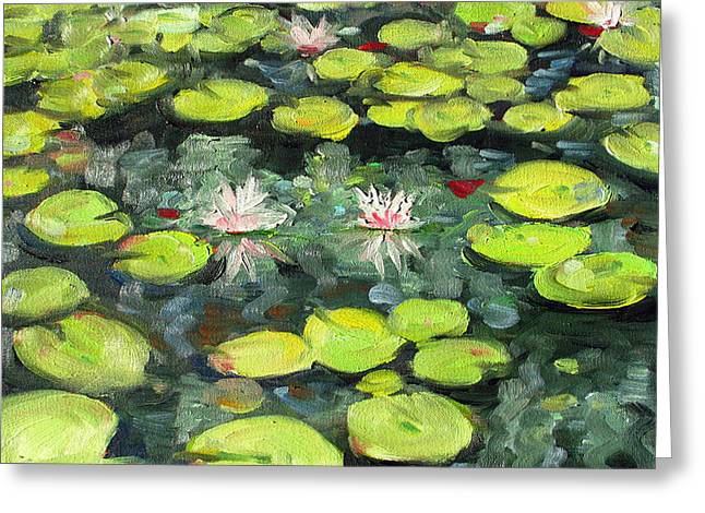 Lily Pond Greeting Cards - Lily Pond Greeting Card by Paul Walsh