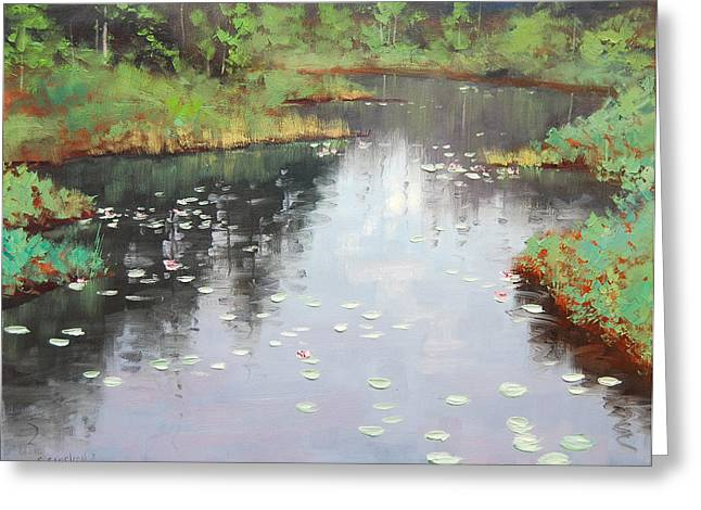 Lily Pond Greeting Cards - Lily Pond Reflections Greeting Card by Graham Gercken