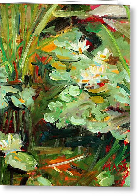 Pond Paintings Greeting Cards - Lily Ponderings Greeting Card by Marie Massey