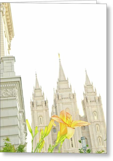 Salt Lake City Temple Greeting Cards - Lily Temple Greeting Card by La Rae  Roberts