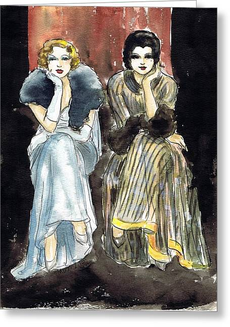 Sequin Drawings Greeting Cards - Lilyan and Kay 2 Greeting Card by Mel Thompson
