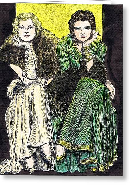 Sequin Drawings Greeting Cards - Lilyan and Kay Greeting Card by Mel Thompson
