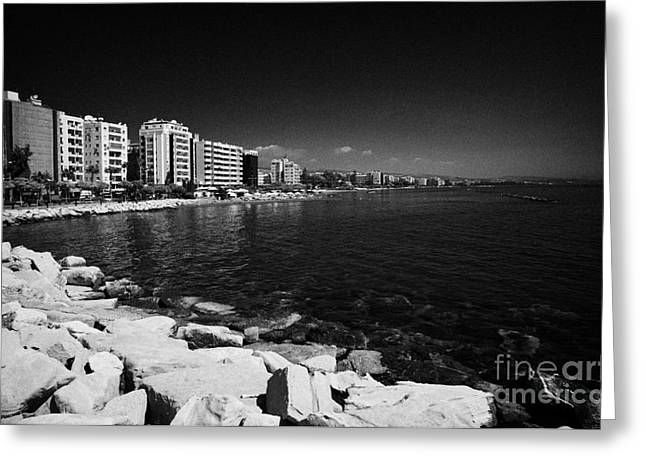Limassol Greeting Cards - Limassol seafront and breakwater in twin cities park on reclaimed land lemesos republic of cyprus Greeting Card by Joe Fox