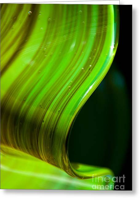 Green Abstract Glass Art Greeting Cards - Lime Curl Greeting Card by Dana Kern
