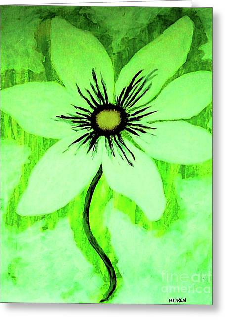 Wrapped Canvas Greeting Cards - Lime Daisy Greeting Card by Marsha Heiken