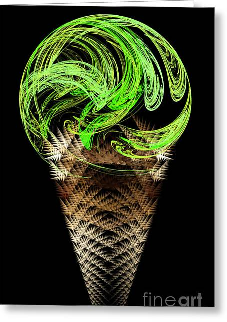 Food Digital Greeting Cards - Lime Ice Cream Cone Greeting Card by Andee Design