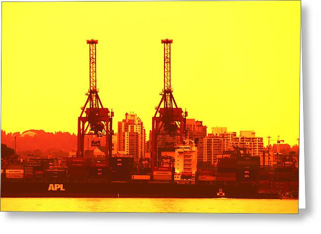 Lights Of Vancouver Greeting Cards - Lime Light on the Docks Greeting Card by Paul W Sharpe Aka Wizard of Wonders