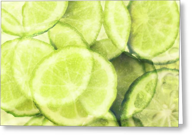 Rind Greeting Cards - Lime Slices Greeting Card by Linde Townsend