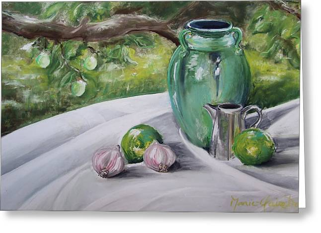 Table Pastels Greeting Cards - Limes and Mirabelles Greeting Card by Marie-Claire Dole