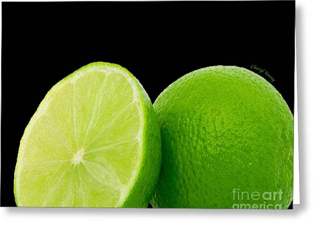 Essential Oil Greeting Cards - Limes Greeting Card by Cheryl Young
