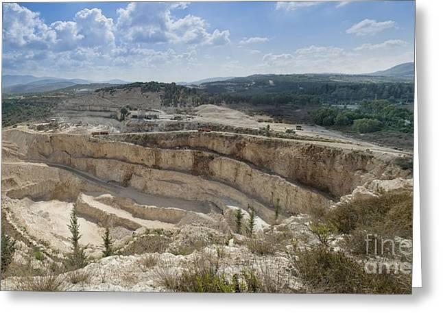 Limestone Quarry In Israel Greeting Card by Noam Armonn
