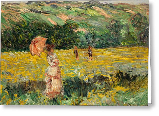 Monet Lady Greeting Cards - Limetz Meadow Greeting Card by Claude Monet