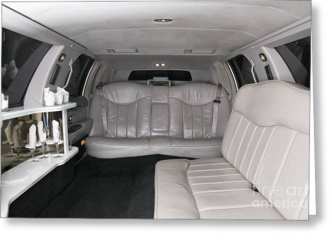 Limo Greeting Cards - Limousine Interior Greeting Card by Andersen Ross