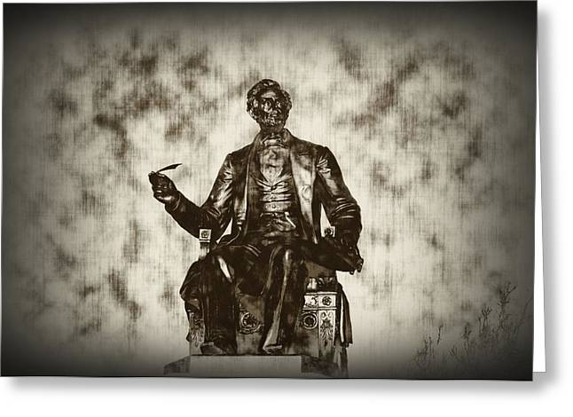 Lincoln - Pen in Hand Greeting Card by Bill Cannon