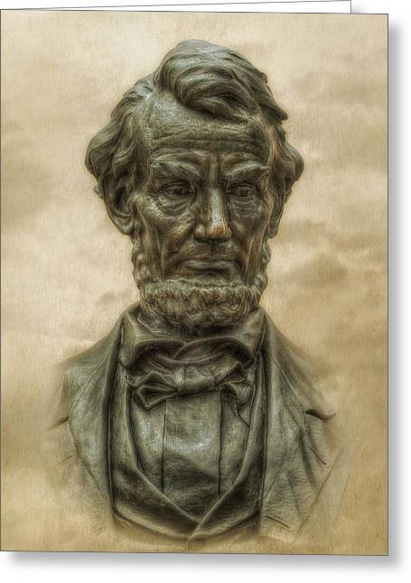 Soldiers National Cemetery Digital Art Greeting Cards - Lincoln Address Memorial Statue Greeting Card by Randy Steele