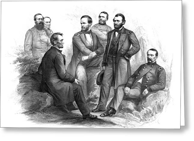 William Photographs Greeting Cards - Lincoln and His Generals Black and White Greeting Card by War Is Hell Store
