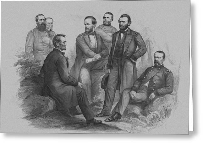 Abe Greeting Cards - Lincoln and His Generals Greeting Card by War Is Hell Store
