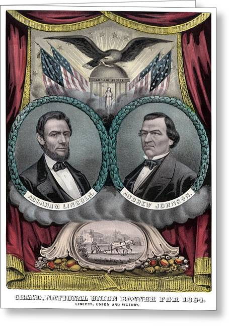 Proclamation Drawings Greeting Cards - Lincoln and Johnson Election Banner 1864 Greeting Card by War Is Hell Store