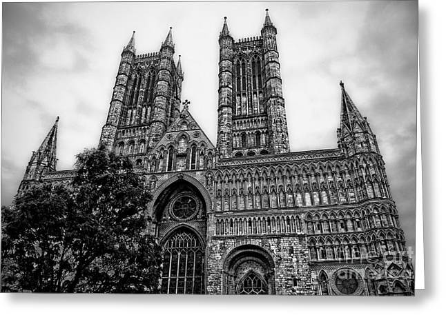 Spire Framed Prints Greeting Cards - Lincoln Cathedral Facade Greeting Card by Yhun Suarez