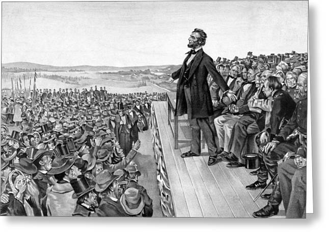 Honest Greeting Cards - Lincoln Delivering The Gettysburg Address Greeting Card by War Is Hell Store